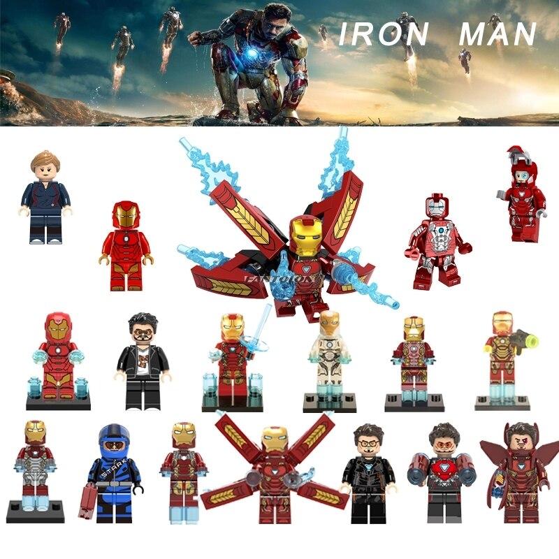 Galleria fotografica Singola Vendita <font><b>Legoing</b></font> Marvel Avengers Super Heroes Iron Man Tony Stark Collezione <font><b>Legoingly</b></font> Iron-Man Building Block Giocattoli Per del capretto