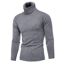 Winter men's knitted turtleneck sweater wool keep warm slim pure color sweaters winter thermal underwear stand collar sweaters(China)
