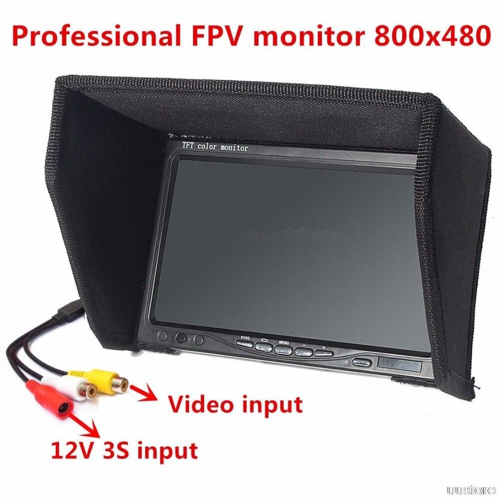 FPV Monitor Bildschirm Nicht Blauen Bildschirm 7 Zoll 800x480 Farbe TFT LCD Display W/sonnenschutzes für Kamera Drone Quadcopter RC Flugzeug