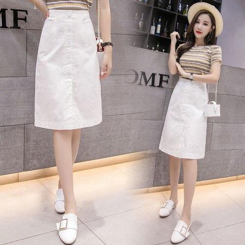 Stinlicher Summer Autumn Skirts Womens 2018 Midi Knee Length Korean Elegant Button High Waist Skirt Female Black White Skirt