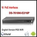 Hikvision poe nvr 16ch ds-7616ni-e2/16 p plug & play p2p hd 3mp/5mp/6mp gravador de rede sata 16 de vigilância onvif poe nvr