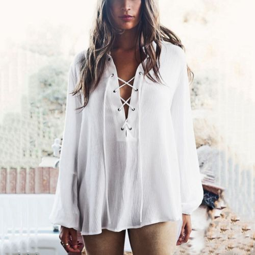 New Fashion Sexy Women s White Summer Long Sleeve Loose Casual Evening font b Cocktail b