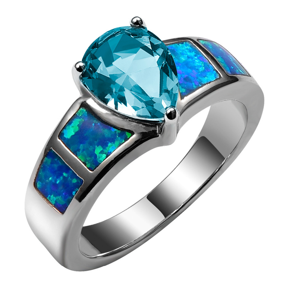 Blue Fire Opal With Simulated Aquamarine 925 Sterling Silver Ring Beautiful Jewelry Size 6 7 8 9 10 R1386