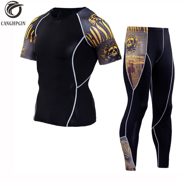afc71dc428f Funny Wolf 3D Sport Tracksuit Running Suit Men Fitness Bodybuilding Tights  Short Sleeve Shirts Leggings WorkoutCompression Set