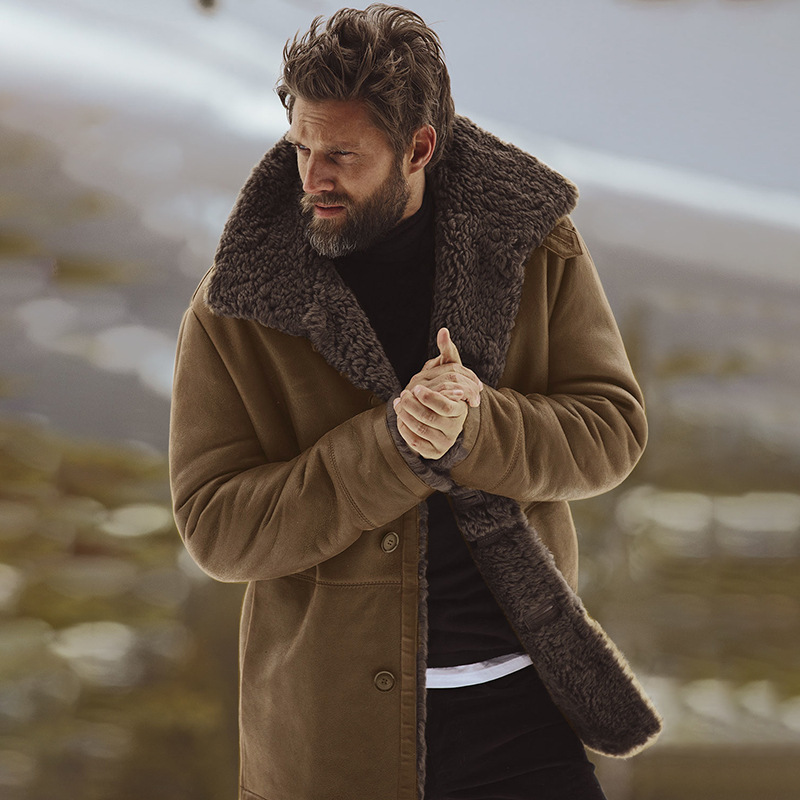 2019 Winter Men's Wool Thick Warm Trench Long Outwear Button Overcoat Coats Waterproof Windproof Winter Jacket Men Drop Shipping