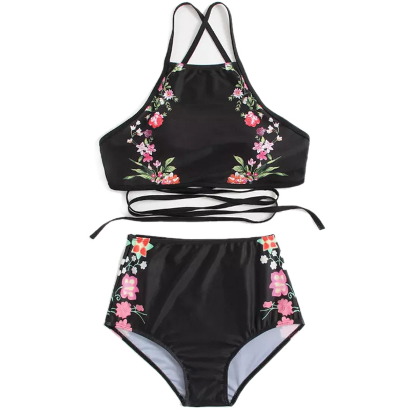 Women Black Flower Print Halter Bikini Set Backless Tank High Waist Two Pieces Swimwear