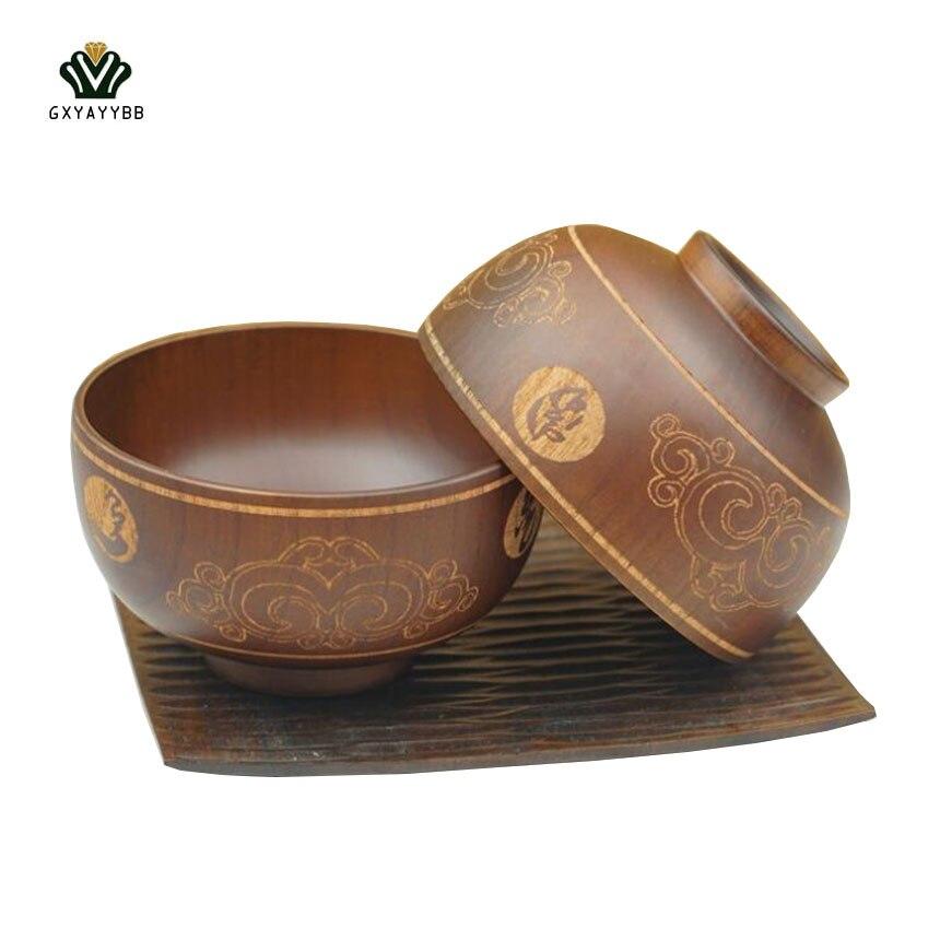 1pcsset natural handmade wooden salad bowl classic small bowls wood salad soup - Wooden Salad Bowls