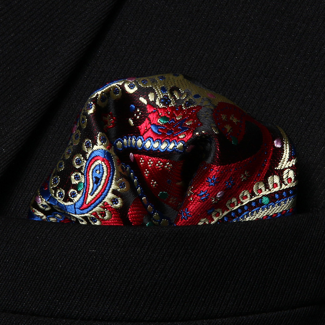 HP706M Red Blue Paisley Men 100% Silk Party Handkerchief Pocket Square Hanky