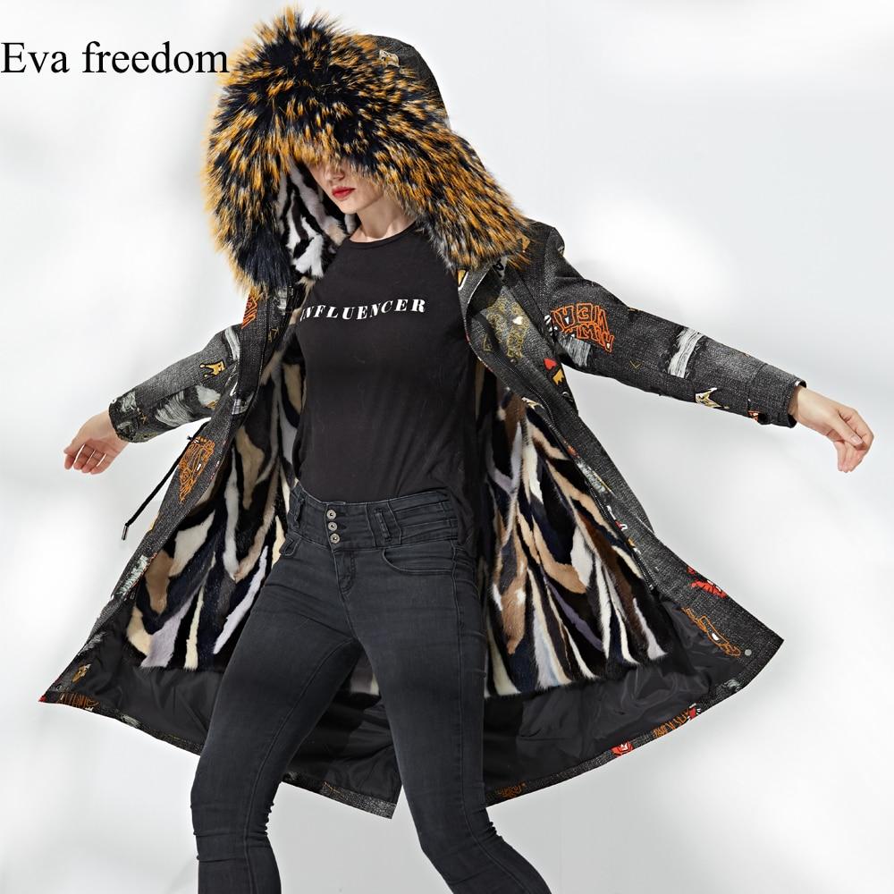 2018 Femmes Doublure Long À Vison Veste D'hiver Luxe Outwear Col De Parkas Grand Capuchon Amovible Hiver Fourrure Manteau rRrECwq7