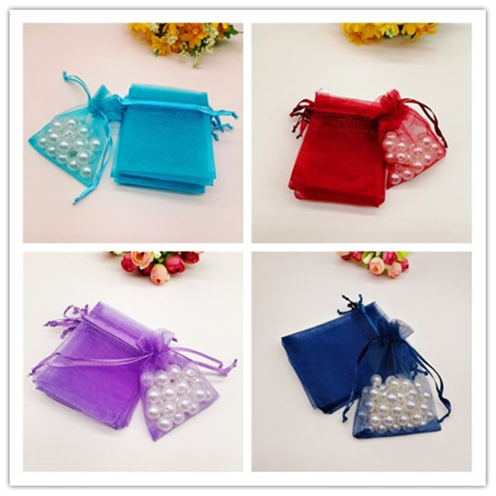 100 Pcs Organza Gift Bags Small & Big Jewelry Packaging Drawable Bag Party Wedding Christmas Pouches