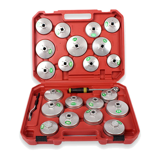 23pc Aluminum Alloy Cup Type Oil Filter Cap For Car Repair Tool Wrench Socket Removal Set Auto Tools Oil Core Wrench Kit