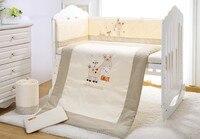 Акция! 7 шт. вышивка кроватка детское постельное белье Комплект 100% хлопок бампер зимний комплект постельное белье, включают (2 бампер + одеяло...