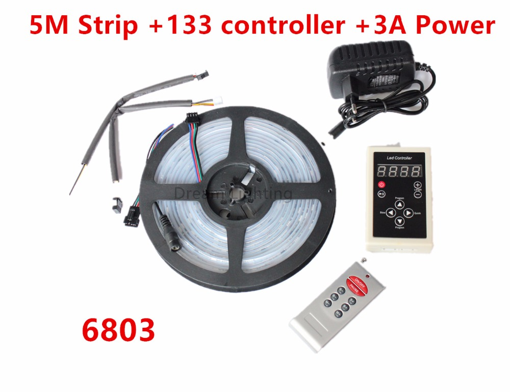 цена на 5m 6803 IC 5050 digital RGB LED Strip,150LED IP67 Waterproof dream magic color +6803 RF 133 Remote controller +12V 3A kit