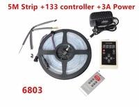 5m 6803 IC 5050 digital RGB LED Strip,150LED IP67 Waterproof dream magic color +6803 RF 133 Remote controller +12V 3A kit