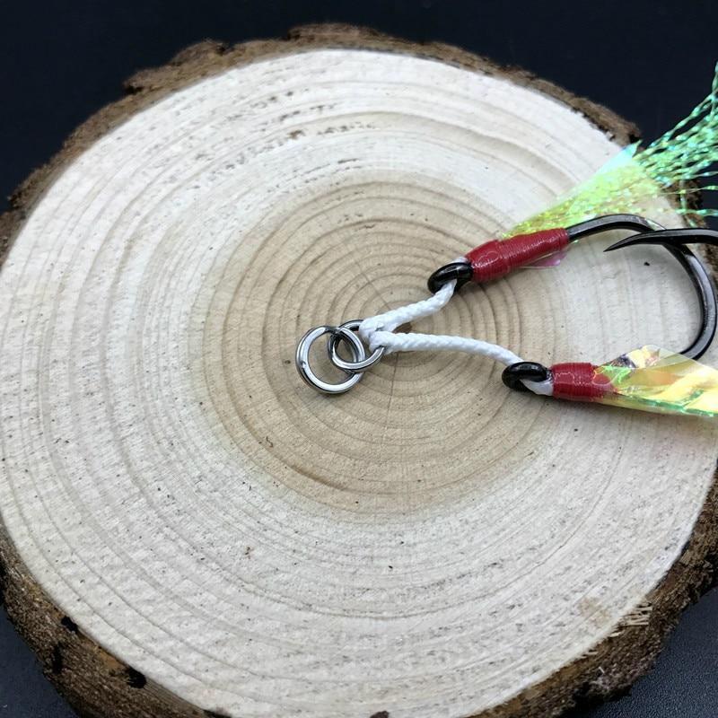 Mustad Double Hooks Barbed String Hook Inchiku Assist Hooks Slow Jig Saltwater Jigging Green Feature Hooks Sea Ocean Beach Pesca in Fishhooks from Sports Entertainment