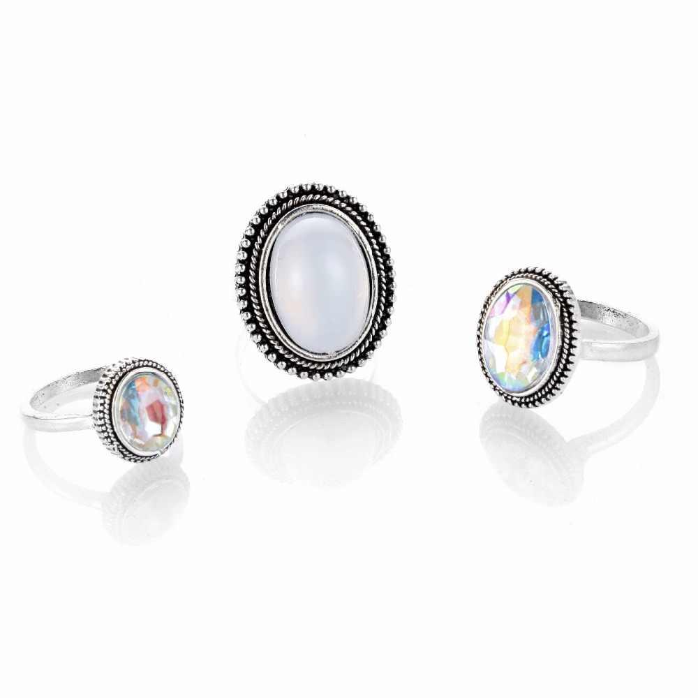 RscvonM Big 3 ชิ้น/เซ็ตโบฮีเมียรูปไข่ที่มีสีสันโอปอลหิน Knuckle Midi ชุดแหวนสำหรับผู้หญิงแหวนเงินเครื่องประดับ Accessorie