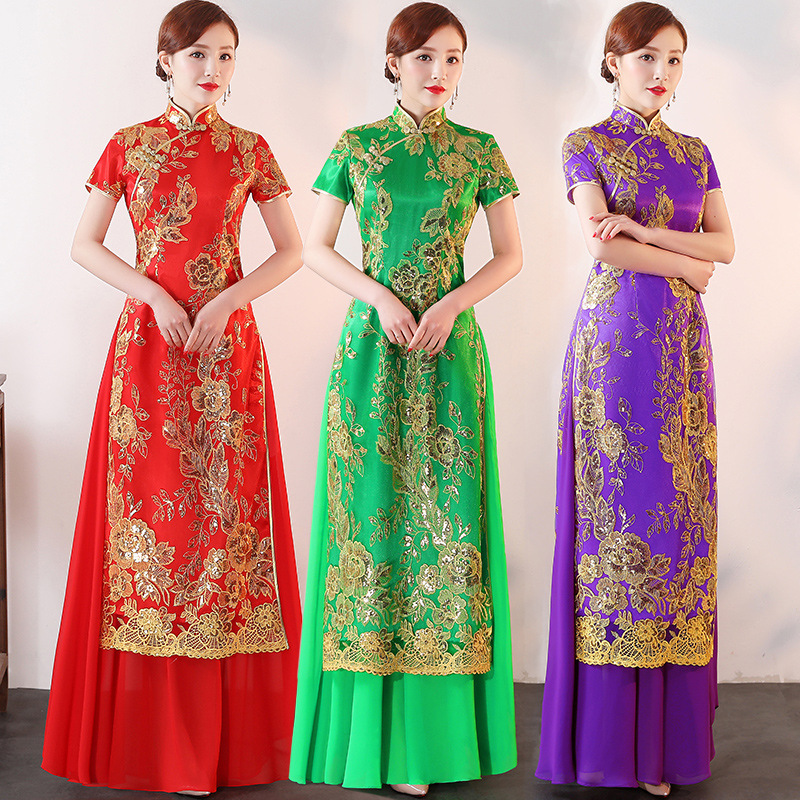 Plus Size 3XL 4XL 5XLChinese Traditional Women Aodai Embroidery Sequin Qipao Vintage Cheongsam Novelty Chinese Formal