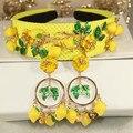 2016 Baroque fashion runway cute yellow lemon flower green leaves headbands for women luxury vintage hair accessories jewelry