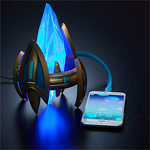 star craft II protoss pylon usb charger desktop power station blizzcon brand new titanium ring