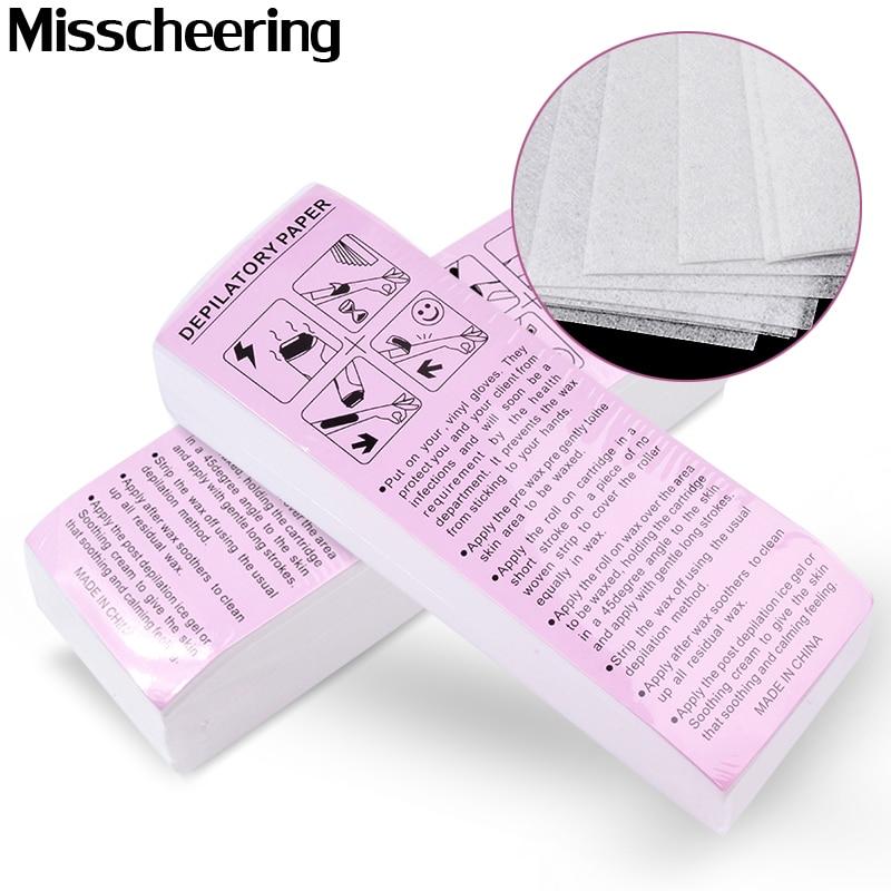 100 pièces enlèvement non-tissé corps tissu cheveux enlever cire papier rouleaux haute qualité épilation épilateur cire bande papier