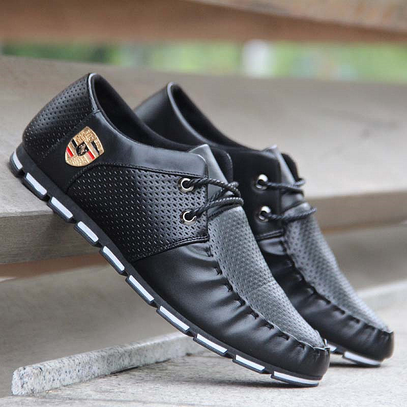 New 2019 Men Casual Shoes Leather Autumn Breathable Holes Luxury Brand Flat Shoes Men Soft Driving Lace Up Shoes Drop Shipping