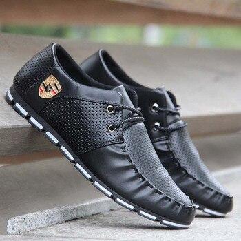 Yeni 2018 Erkekler rahat ayakkabılar Deri Sonbahar Nefes Delikler Lüks Marka düz ayakkabı Erkekler Yumuşak Sürüş bağcıklı ayakkabı Damla Nakliye