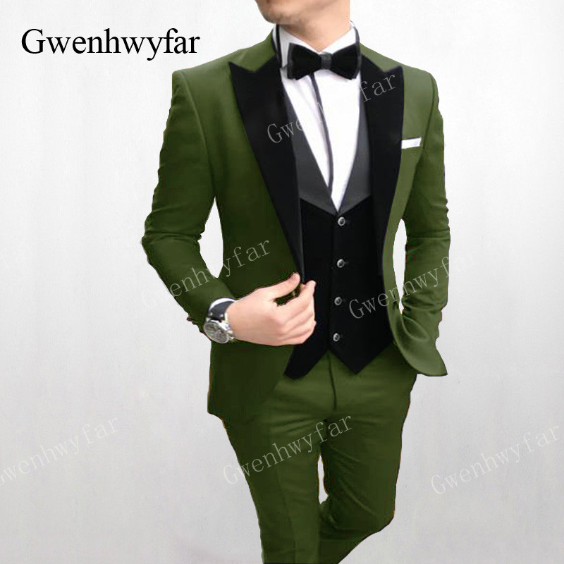 Handsome Groomsmen Peak Lapel Groom Tuxedos Mens Wedding Dress Man Jacket Blazer Prom Dinner 3 Piece