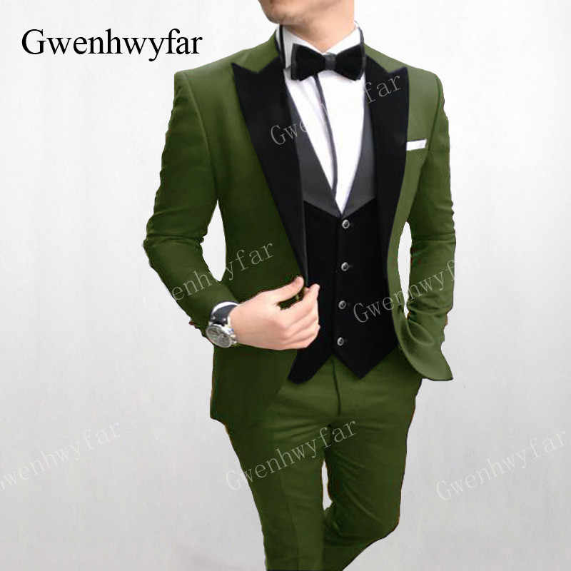 Gwenhwyfar Formal Men Suits Army Green 2019 Slim Fit Velvet Lapel Groom Suit Mens Tuxedo Blazer Wedding/Prom Suits 3 Pieces