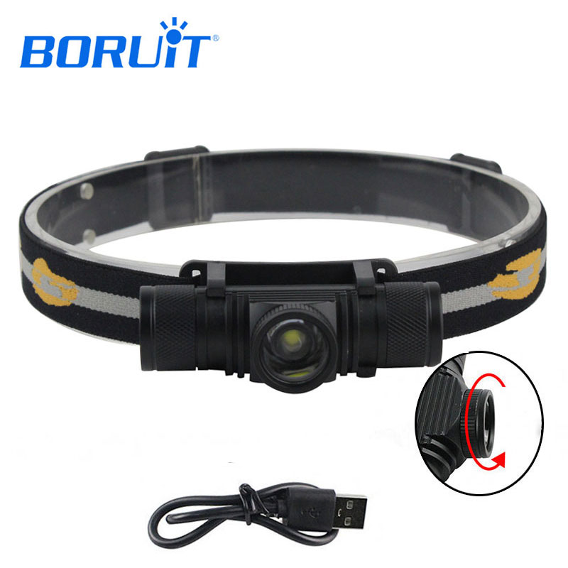 BORUIT 1000LM 10W L2 LED Headlight Mini White Light Zoomable Torch Headlamp Motorcycle Outdoor Sport For Camping Fishing Hunting boruit mini 800 lumen q5 led headlight 3 mode rechargeable zoomable headlamp white light for hunting fishing head torch lanterna