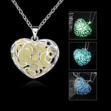 Luminous Heart Type Necklace Fluorescent Stone Flower Hollow Locket Cage For Women Night Light CX177