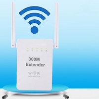 300Mbps Mini Router WiFi Repeater Network Range Extender Booster Wi Fi Signal Increase Dual External Antennas EU/US/UK Plug