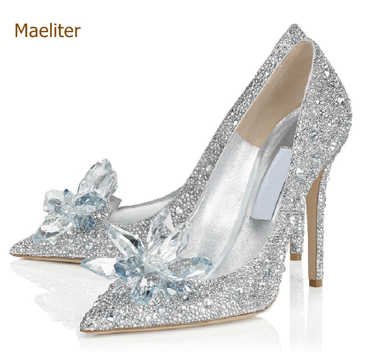 Bling Bling Cinderellas Crystal Shoes Celebrity Stage Shoes High Heels Pointed Toe Glittering Rhinestone Beaded Wedding PumpsBling Bling Cinderellas Crystal Shoes Celebrity Stage Shoes High Heels Pointed Toe Glittering Rhinestone Beaded Wedding Pumps
