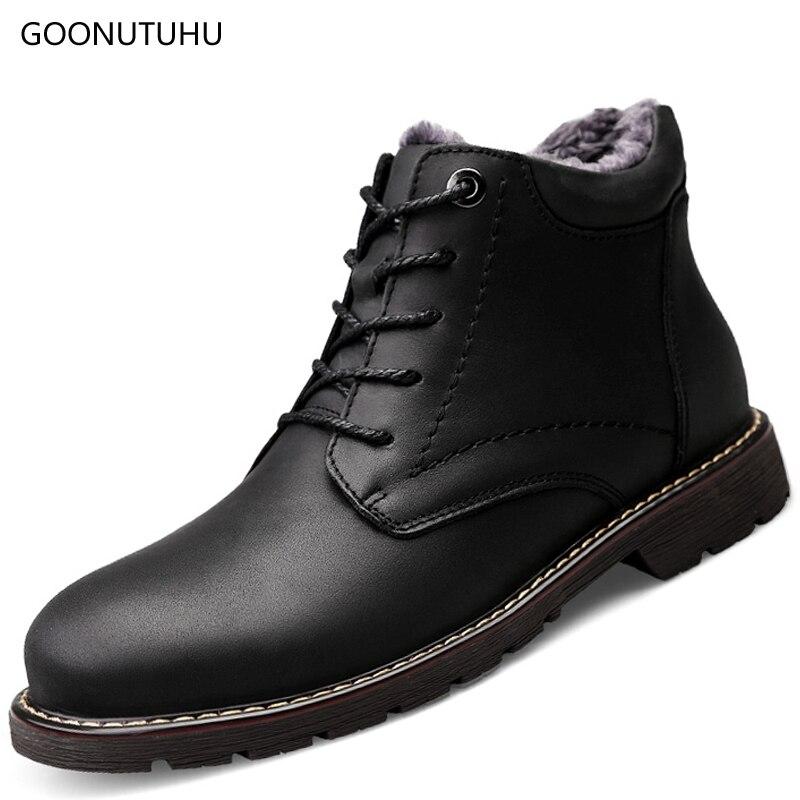 656d35686 Sapato Sapatos Trabalho Homem Genuíno Inverno Tático Botas Neve Dos Ankle À  Água brown Boot Os ...