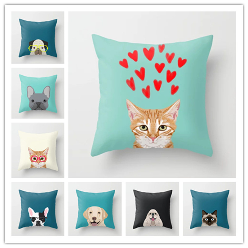 Lovely Ihomee Cute Dog Cushion Cover Pillow Cases Teddy Chihuahua Bull Terrier Schnauzer Sausage Bedroom Sofa Home Decor Drop Shipping 50% OFF Home & Garden