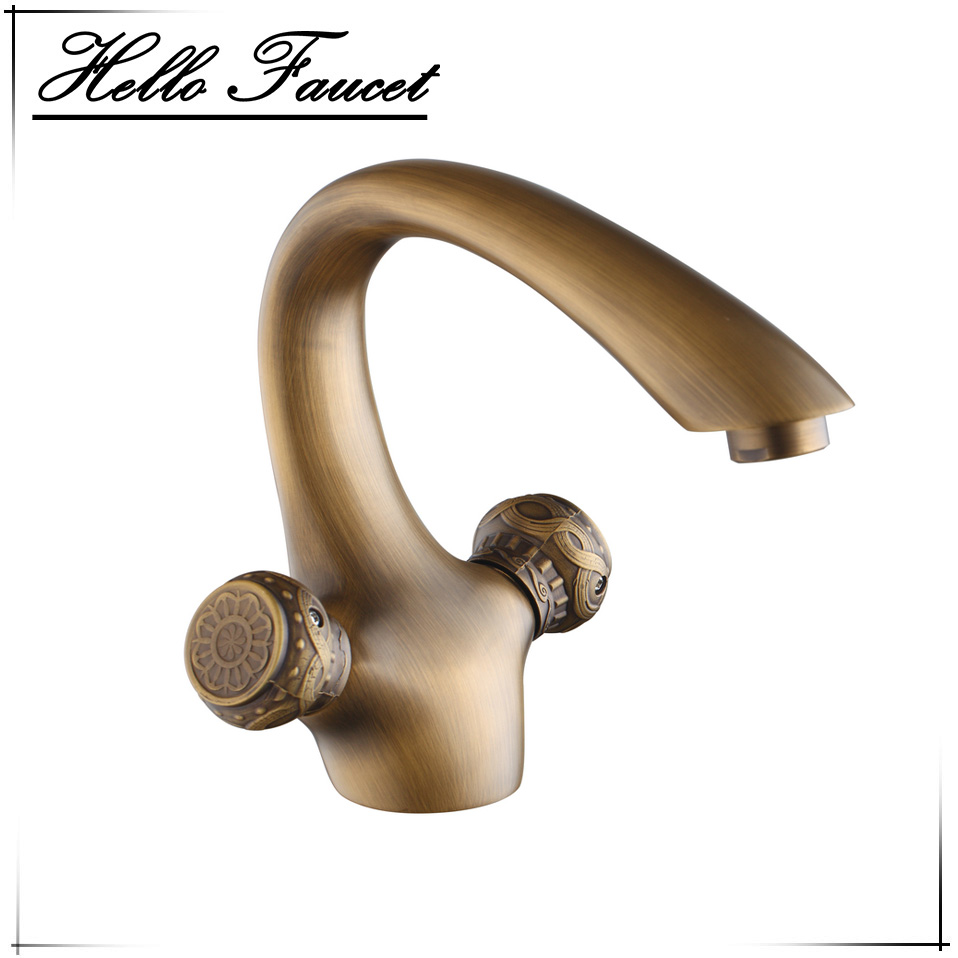 Retro Basin Faucet Antique Brass Double Handles Bathroom Deck Mounted Tap Wash Basin Sink Torneira Mixer Faucet