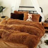 Autumn Winter Flannel Duvet Cover Set Brown Fleece Duvet Cover Solid Color Bed Sheet Pillow Case