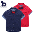 New 2016 boys shirts Summer children's clothing kids short sleeve shirts with collar tie lovely beard baby shirt  2-10A