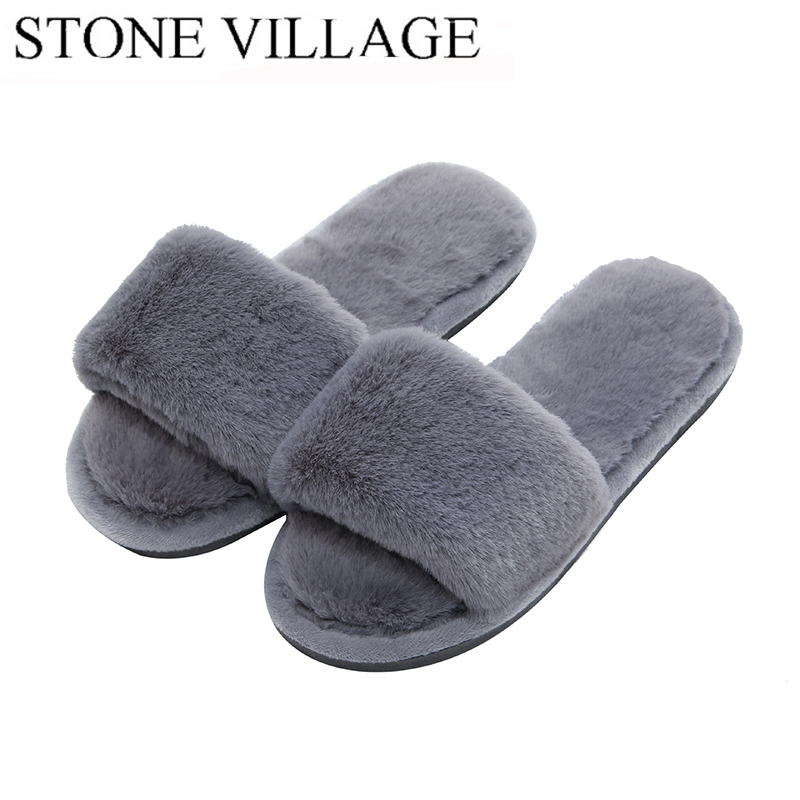 68fd4199abdfd Woman's Fur Fluffy Furry Fuzzy Slipper Flip Flop Open Toe Plush Cozy House  Sandal Soft Winter Flat Anti-Slip Spa Indoor Shoes