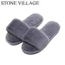 73c6f48311dcfd Woman s Fur Fluffy Furry Fuzzy Slipper Flip Flop Open Toe Plush Cozy House  Sandal Soft Winter · 3 Colors Available