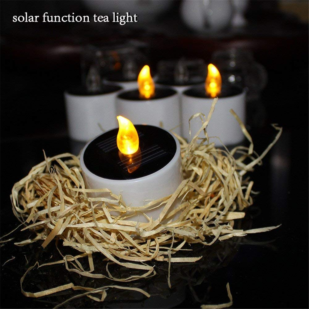 Solar Candles Lights Outdoor Led Tea Energy Candle Lamp For Home Party Valentine Festival Decor 6 Pack In From Garden