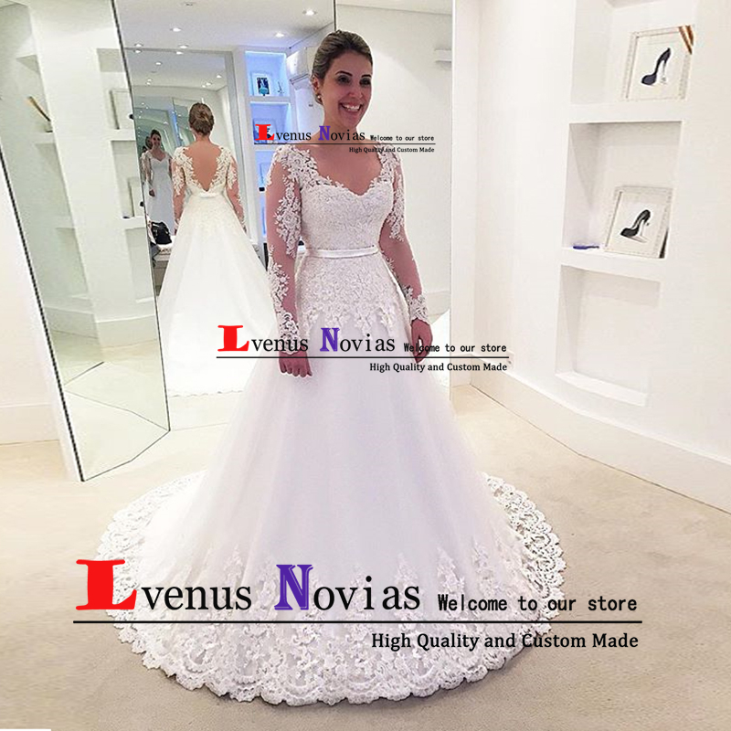 Robe De Mariee Cheap Lace Wedding Gowns Imported China Bride Dress Sexy Boho Long Sleeve Wedding