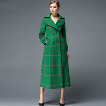 Europe and America New Fashion Winter Women's Slim Outwear Plaid Cashmere Coat Wool Jackets Long Sleeve Female Overcoat Green