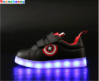 Captain America Children Shoes Light Led Luminous Sneakers Boys Girls USB Charging Sport Casual Shoes For
