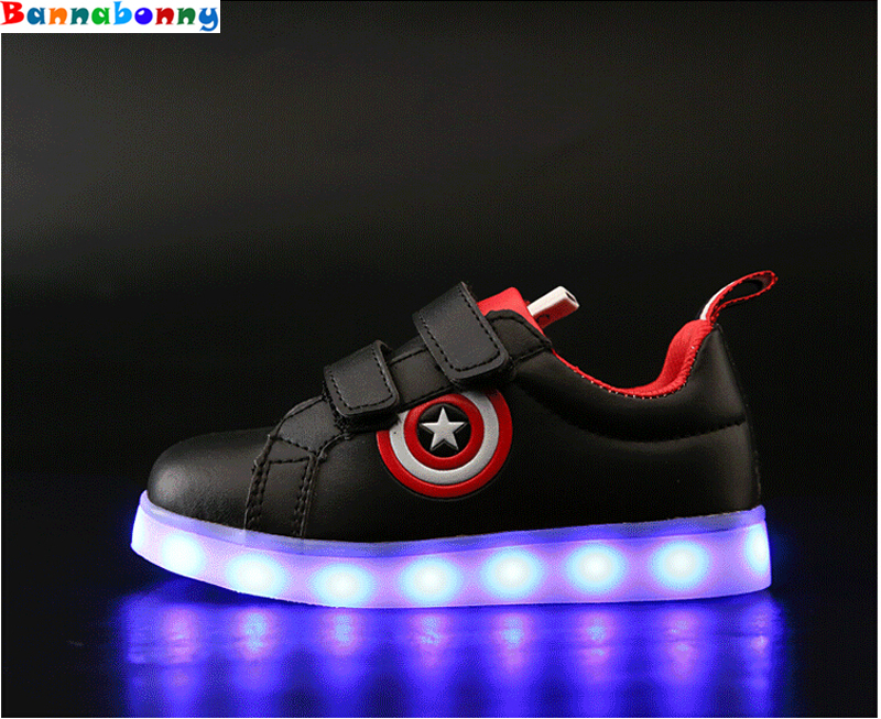 Captain America Children Shoes Light Led luminous Sneakers Boys Girls USB Charging Sport Casual Shoes For Kids Glowing Sneakers