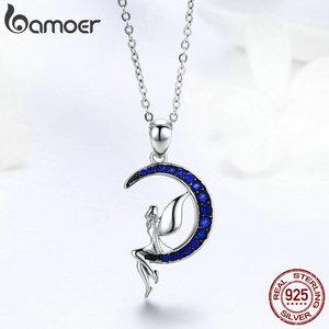 Image 4 - BAMOER ขายร้อน 100% 925 เงินสเตอร์ลิง Lucky Fairy Blue Moon จี้สร้อยคอเงินผู้หญิงเครื่องประดับของขวัญ SCN244
