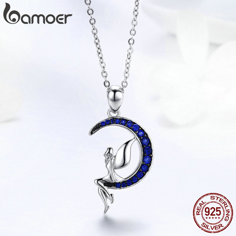 BAMOER Hot Sale 100 925 Sterling Silver Lucky Fairy in Blue Moon Pendant Necklaces Women Sterling BAMOER Hot Sale 100% 925 Sterling Silver Lucky Fairy in Blue Moon Pendant Necklaces Women Sterling Silver Jewelry Gift SCN244