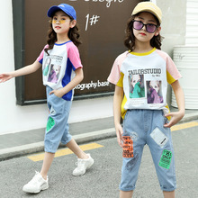 kids clothes Girls summer suit 2019 new girl print T-shirt denim pants summer fashion sports two-piece suit children sets стоимость