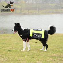 Onewellpet Brand Reflective Mesh Black Vest With Police Logo Is Suitable For Dobermann And Other Large Pet Dogs