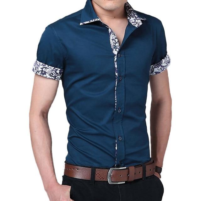 Мужские Рубашки Марка Лето Мужские Рубашки С Коротким Рукавом Повседневная Рубашка Мужчин Slim Fit Camisa Дизайн Формальные Рубашки Импортированы Clothing
