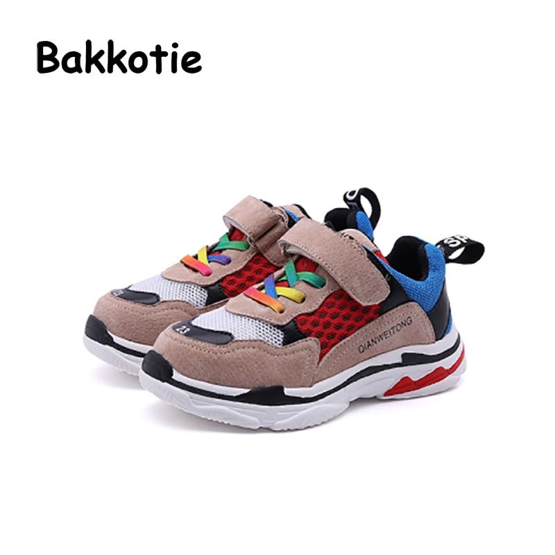 Bakkotie 2018 Spring New Baby Boy Mesh Sneaker Toddler Girl Brand Casual Sport Shoe Black Kid Breathable Children Soft Trainer